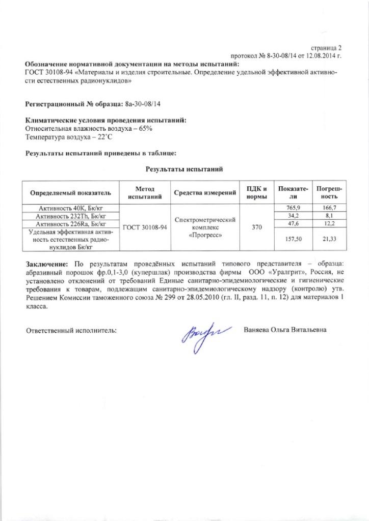 Протокол испытаний абразивного порошка купершлака (гранулированный шлак по ТУ 3989-003-82101794-2008). Стр. 2