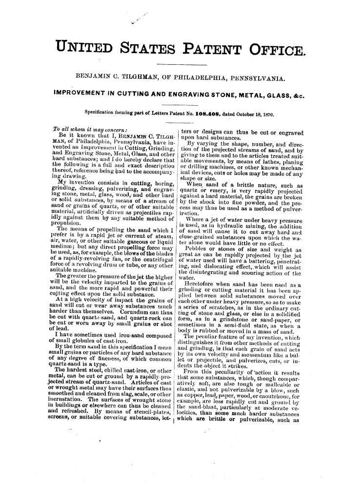 Патент США № 108408 – Усовершенствование в резке и гравировке камня, металла, стекла и пр. – Стр. 1 – Бластинг