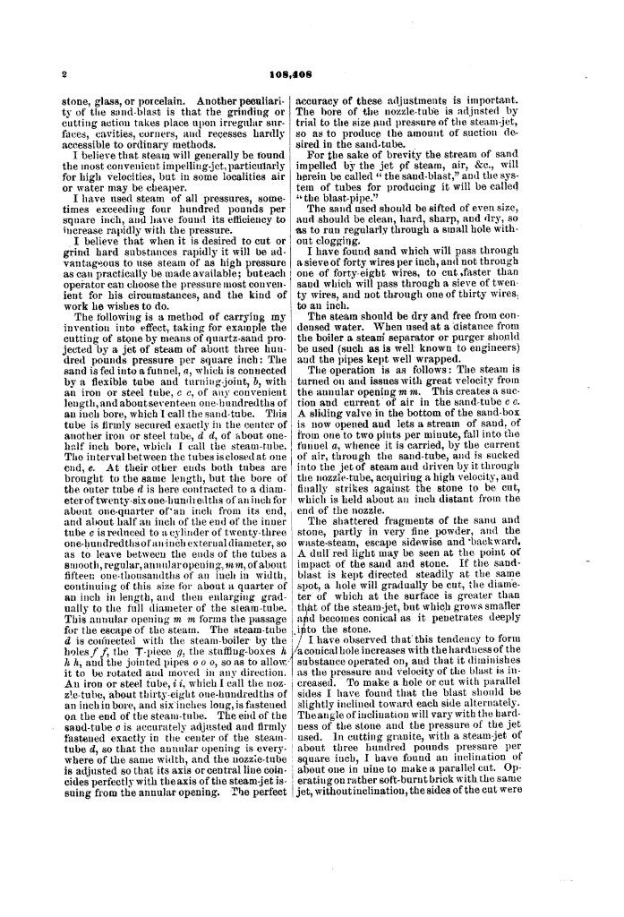Патент США № 108408 – Усовершенствование в резке и гравировке камня, металла, стекла и пр. – Стр. 2 – Бластинг