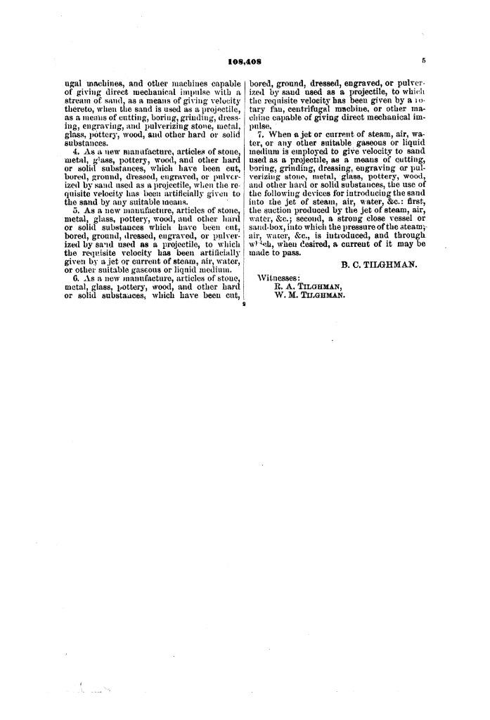 Патент США № 108408 – Усовершенствование в резке и гравировке камня, металла, стекла и пр. – Стр. 5 – Бластинг