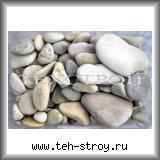 Галька речная светлая плоская 8,0-15,0 по 25 кг мешок